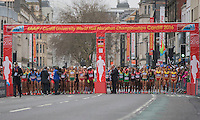 The elite women's field starting line at the IAAF World Half Marathon Championships 2016 in Cardiff, Wales on 26 March 2016. Photo by Mark  Hawkins / PRiME Media Images.