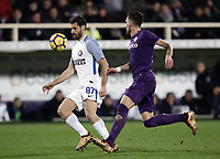 Calcio, Serie A: Fiorentina - Inter, stadio Artemio Franchi Firenze 5 gennaio 2018.<br /> Inter's Antonio Candreva (l) in action with Fiorentina's Cristiano Biraghi (r) during the Italian Serie A football match between Fiorentina and Inter Milan at Florence's Artemio Franchi stadium, January 5 2018.<br /> UPDATE IMAGES PRESS/Isabella Bonotto