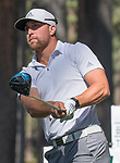 Adam Thielen hits a tee shot on the fourth hole during the American Century Championship at Edgewood Tahoe Golf Course in Stateline, Nevada, Saturday, July 14, 2018.