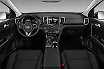 Stock photo of straight dashboard view of 2017 KIA Sportage 2.4-EX-AT-AWD 5 Door SUV Dashboard