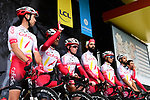 Cofidis on stage at the team presentation before Stage 1 of the Criterium du Dauphine 2019, running 142km from Aurillac to Jussac, France. 9th June 2019<br /> Picture: ASO/Alex Broadway | Cyclefile<br /> All photos usage must carry mandatory copyright credit (© Cyclefile | ASO/Alex Broadway)
