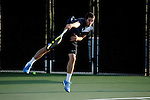 26 MAY 2011: Simon Lavoie-Perusse of Emory serves the ball during the Division III Men's Tennis Championship held at the Biszantz Family Tennis Center and Pauley Tennis Complex in Claremont, CA. Amherst defeated Emory 5-2 for the national title. Stephen Nowland/NCAA Photos