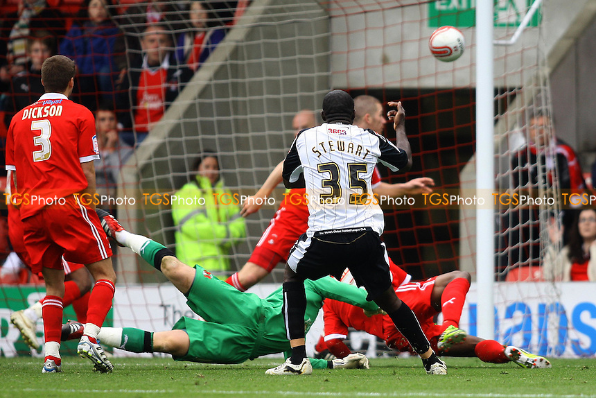 Damion Stewart of Notts County opens the scoring - Leyton Orient vs Notts County - nPower League One Football at The Matchroom Stadium, Brisbane Road - 06/04/12 - MANDATORY CREDIT: George Phillipou/TGSPHOTO - Self billing applies where appropriate - 0845 094 6026 - contact@tgsphoto.co.uk - NO UNPAID USE.