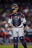 Yadier Molina of the St. Louis Cardinals during a game from the 2007 season at Dodger Stadium in Los Angeles, California. (Larry Goren/Four Seam Images)