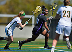 28 April 2012: University at Albany Great Dame midfielder Ariana Parker, a Sophomore from Port Ewen, NY, in action against the University of Vermont Catamounts at Virtue Field in Burlington, Vermont. The Lady Danes defeated the Lady Cats 12-10 in America East Women's Lacrosse. Mandatory Credit: Ed Wolfstein Photo