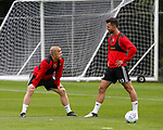 Mark Duffy of Sheffield Utd and Jake Wright of Sheffield Utd during the training session at the Shirecliffe Training complex, Sheffield. Picture date: June 27th 2017. Pic credit should read: Simon Bellis/Sportimage