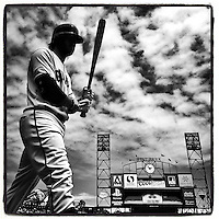 SAN FRANCISCO, CA - AUGUST 13: Instagram of Brandon Crawford of the San Francisco Giants walking to the on deck circle during a game against the Chicago White Sox at AT&T Park on August 13, 2014 in San Francisco, California. Photo by Brad Mangin