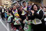 "People receive the ""19th Korrika"" in Tutera on March 26, 2015, Basque Country. The ""19th Korrika"" is a relay of hand to hand baton passing without interruption over 11 days and 10 nights crossing many Basque villages and cities, totalling some 2300 kilometres in a bid to promote the basque language.The ""Korrika"" this year end in Bilbao on March 29. (Ander Gillenea / Bostok Photo)"