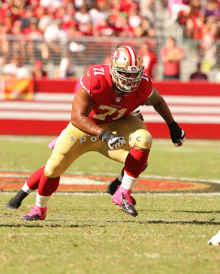 San Francisco 49ers Jonathan Martin (71) during a game against the Kansas City Chiefs on October 5, 2014 at Levi's Stadium in Santa Clara, CA. the 49ers beat the Chiefs 22-17.