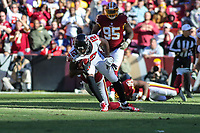 Landover, MD - November 4, 2018: Atlanta Falcons wide receiver Mohamed Sanu (12) gets tackled after a catch during the  game between Atlanta Falcons and Washington Redskins at FedEx Field in Landover, MD.   (Photo by Elliott Brown/Media Images International)