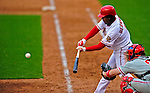 13 April 2009: Washington Nationals' infielder Anderson Hernandez at bat against the Philadelphia Phillies during the Nats' Home Opener at Nationals Park in Washington, DC. The Nats fell short in their 9th inning rally, losing 9-8, and marking their 7th consecutive loss of the 2009 season. Mandatory Credit: Ed Wolfstein Photo