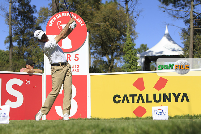 Alvero Velasco (ESP) on the 3rd tee during Thursday's Round 1 of The Open De Espana at The PGA Catalunya Resort. 15th May 2014.<br /> Picture:  Thos Caffrey / www.golffile.ie