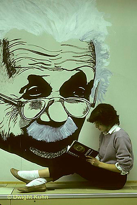 CX05-005a  Mural of Einstein with student studying physics