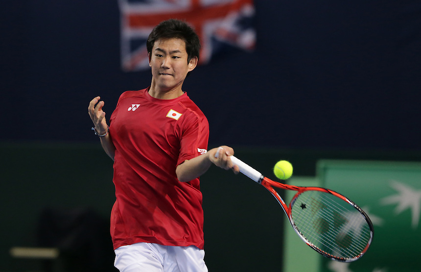 Yoshihito Nishioka in action with partner Yasutaka Uchiyama during their doubles rubber against Andy Murray and Jamie Murray today - Andy Murray and Jamie Murray (GBR) def Yoshihito Nishioka and Yasutaka Uchiyama (JPN) 6-3 6-2 6-4<br /> <br /> Photographer Stephen White/CameraSport<br /> <br /> International Tennis - 2016 Davis Cup by BNP Paribas - World Group First Round - Great Britain v Japan - Day 2 - Saturday 5th March 2016 - Barclaycard Arena, Birmingham, Great Britain<br /> <br /> &copy; CameraSport - 43 Linden Ave. Countesthorpe. Leicester. England. LE8 5PG - Tel: +44 (0) 116 277 4147 - admin@camerasport.com - www.camerasport.com.
