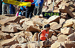August 19, 2017 - Colorado Springs, Colorado, U.S. -  Ethiopia's, Serkalem Abrah, navigates the final boulder field on her way to winning the women's 62nd running of the Pikes Peak Ascent.  The Ascent is a full half-marathon gaining over 7800 feet in elevation to reach the summit at 14,115 feet.  Mountain runners from around the world converge on Pikes Peak for two days of racing on America's Mountain in Colorado Springs, Colorado.