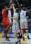February 4, 2015 - Colorado Springs, Colorado, U.S. -    Air Force players play strong defense and hold the Lobos to 49 points during a Mountain West Conference match-up between the New Mexico Lobos and the Air Force Academy Falcons at Clune Arena, U.S. Air Force Academy, Colorado Springs, Colorado.  Air Force upsets New Mexico 53-49.