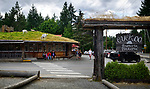 Goats on the roof and Cuckoo frattoria pizzeria at the famous Old Country Market in Coombs, Vancouver Island, BC, Canada 2017