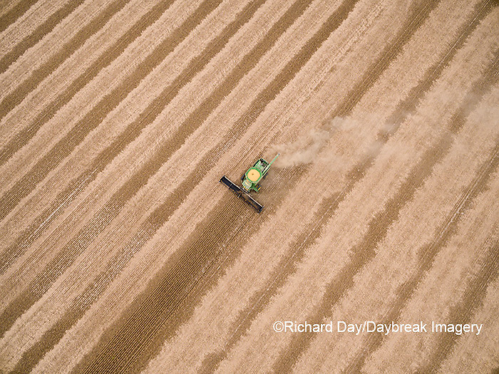 63801-09617 Soybean Harvest, John Deere combine harvesting soybeans - aerial - Marion Co. IL