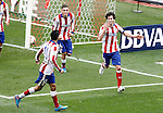 Atletico de Madrid's Raul Jimenez, Jose Maria Gimenez and Tiago Mendes celebrate goal during La Liga match.March 21,2015. (ALTERPHOTOS/Acero)