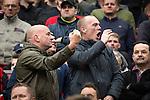 © Joel Goodman - 07973 332324 . 17/05/2015 .  Old Trafford , Manchester , UK . Manchester United fans gesture at Arsenal fans during the match . Manchester Utd vs Arsenal at Old Trafford Football Stadium , Manchester . Photo credit : Joel Goodman