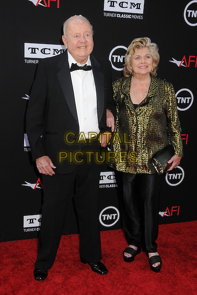 Dick Van Patten, Pat Van Patten<br /> 41st Annual AFI Life Achievement Award Honoring Mel Brooks held at the Dolby Theatre, Hollywood, California, USA, 6th June 2013.<br /> full length  black bow tie husband wife gold jacket couple <br /> CAP/ADM/BP<br /> &copy;Byron Purvis/AdMedia/Capital Pictures