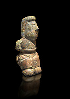 Middle Neolithic quartzose sandstone statue of a goddess from the archaeological site of Cott'e Baccas in Segarlu, Sardinia,. Museo archeologico nazionale, Cagliari, Italy. (National Archaeological Museum)  - Black Background