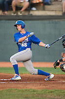 Brandon Thomasson (66) of the Burlington Royals follows through on his swing against the Bristol Pirates at Boyce Cox Field on July 10, 2015 in Bristol, Virginia.  The Pirates defeated the Royals 9-4. (Brian Westerholt/Four Seam Images)