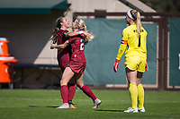 STANFORD, CA - October 21, 2018: Abby Greubel, Jordan DiBiasi at Laird Q. Cagan Stadium. No. 1 Stanford Cardinal defeated No. 15 Colorado Buffaloes 7-0 on Senior Day.