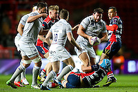 Nathan Catt of Bath Rugby takes on the Bristol Rugby defence. European Rugby Challenge Cup match, between Bristol Rugby and Bath Rugby on January 13, 2017 at Ashton Gate Stadium in Bristol, England. Photo by: Rogan Thomson / JMP for Onside Images