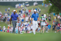 Tiger Woods and Padraig Harrington in action during the opening round of the US PGA Championship at Valhalla (Photo: Anthony Powter) Picture: Anthony Powter / www.golffile.ie