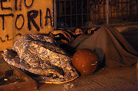 Pictured: Migrants sleep rough in streets adjacent to Victoria Square Monday 07 March 2016<br /> Re: Migrants at Victoria Square, in central Athens, Greece.
