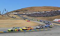 Jun. 21, 2009; Sonoma, CA, USA; NASCAR Sprint Cup Series driver Mark Martin (5) leads Kevin Harvick (29) during the SaveMart 350 at Infineon Raceway. Mandatory Credit: Mark J. Rebilas-