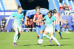 Atletico de Madrid Sonia Bermudez and FC Barcelona Melanie Serrano and Leila Ouahabi during match of La Liga Femenina between Atletico de Madrid and FC Barcelona at Vicente Calderon Stadium in Madrid, Spain. December 11, 2016. (ALTERPHOTOS/BorjaB.Hojas)