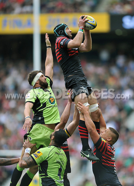 Steve Borthwick rises high to win lineout ball. Aviva Premiership Final, between Saracens and Northampton Saints on May 31, 2014 at Twickenham Stadium in London, England. Photo by: Patrick Khachfe / JMP