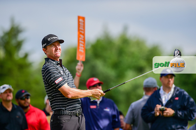 Jimmy Walker (USA) watches his tee shot on 7 during the round 1 of  the AT&amp;T Byron Nelson, TPC Four Seasons, Irving, Texas, USA. 5/19/2016.<br /> Picture: Golffile | Ken Murray<br /> <br /> <br /> All photo usage must carry mandatory copyright credit (&copy; Golffile | Ken Murray)