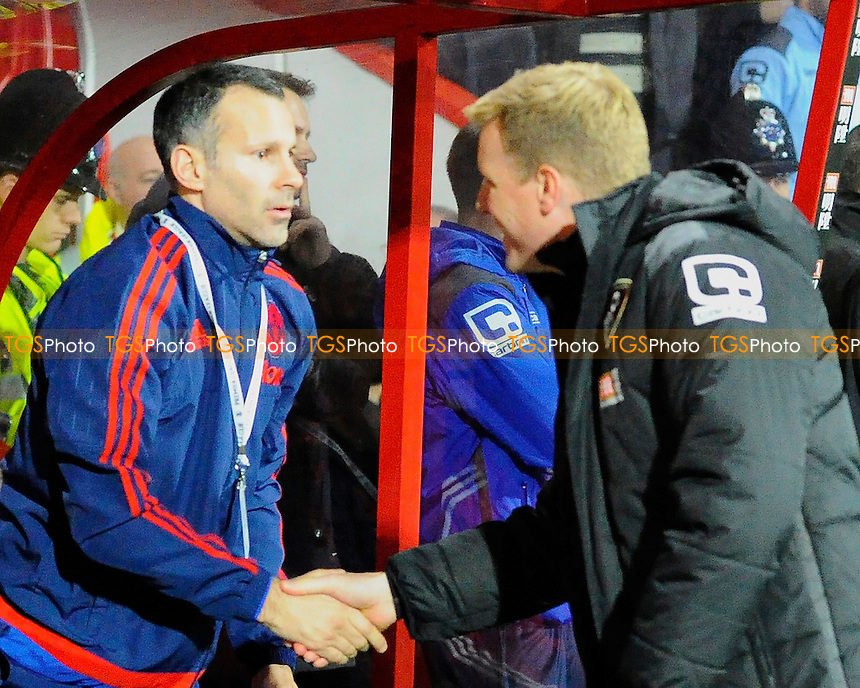AFC Bournemouth Manager Eddie Howe greets Ryan Giggs during AFC Bournemouth vs Manchester United at the Vitality Stadium