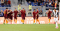 Calcio, Serie A: Roma vs Juventus. Roma, stadio Olimpico, 14 maggio 2017. <br /> Roma&rsquo;s Radja Nainggolan, third from left, celebrates with teammates after scoring during the Italian Serie A football match between Roma and Juventus at Rome's Olympic stadium, 14 May 2017. Roma won 3-1.<br /> UPDATE IMAGES PRESS/Riccardo De Luca