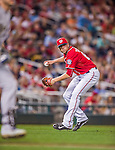 22 August 2015: Washington Nationals pitcher Blake Treinen makes an infield play to end the 8th inning against the Milwaukee Brewers at Nationals Park in Washington, DC. The Nationals defeated the Brewers 6-1 in the second game of their 3-game weekend series. Mandatory Credit: Ed Wolfstein Photo *** RAW (NEF) Image File Available ***