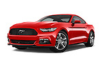 Stock pictures of low aggressive front three quarter view of a 2015 Ford Mustang V6 2 Door Coupe Low Aggressive
