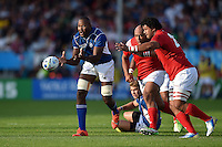 Tjiuee Uanivi of Namibia passes the ball. Rugby World Cup Pool C match between Tonga and Namibia on September 29, 2015 at Sandy Park in Exeter, England. Photo by: Patrick Khachfe / Onside Images