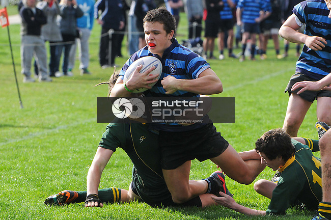 #14 Jamie Malthus heads for the line. Nelson College v Waimea College u15 Final. Tahuna, Nelson, 11/08/12. Photo: Shaun Bowie / Shuttersport