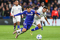 Pedro Rodriguez of Chelsea and Jesus Corona FC Porto battle for the ball during the UEFA Champions League group match between Chelsea and FC Porto at Stamford Bridge, London, England on 9 December 2015. Photo by David Horn / PRiME