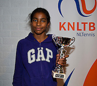 November 30, 2014, Almere, Tennis, Winter Youth Circuit, WJC,  Prizegiving,Device Sewnath 2nd place<br /> Photo: Henk Koster