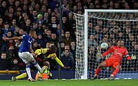 29th October 2019; Goodison Park, Liverpool, Merseyside, England; English Football League Cup, Carabao Cup Football, Everton versus Watford; Richarlison of Everton shoots past Watford goalkeeper Heurelho Gomes to score his team's second goal in the third minute of injury time - Strictly Editorial Use Only. No use with unauthorized audio, video, data, fixture lists, club/league logos or 'live' services. Online in-match use limited to 120 images, no video emulation. No use in betting, games or single club/league/player publications