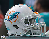 04.10.2015. Wembley Stadium, London, England. NFL International Series. Miami Dolphins versus New York Jets. A Miami Dolphins helmet on the side line.