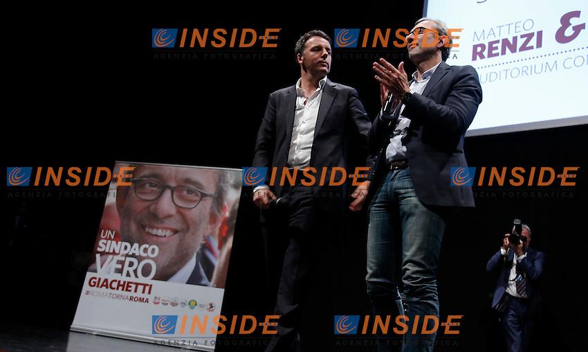 Matteo Renzi e Roberto Giachetti<br /> Roma 01-06-2016 Auditorium della Conciliazione. Inziativa elettorale per il candidato sindaco di Roma del Partito Democratico.<br /> Photo Samantha Zucchi Insidefoto