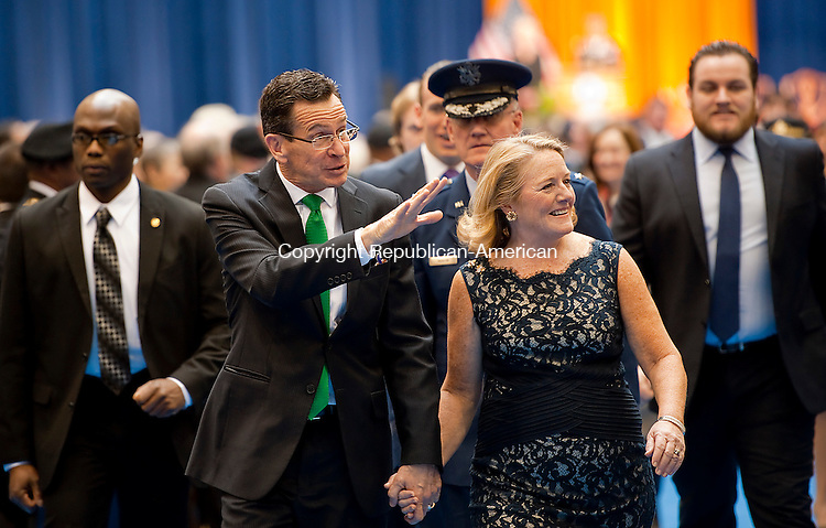 HARTFORD,  CT-010715JS07- Gov. Dannel P. Malloy with his Catherine exit the State Armory following the Gubernatorial Inauguration Ceremony Wednesday at the State Armory in Hartford. <br />  Jim Shannon Republican-American
