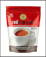 BNPS.co.uk (01202 558833)<br /> Pic: RedEspresso/BNPS<br /> <br /> ***Please Use Full Byline***<br /> <br /> Red Espresso 250g retail bag.<br /> <br /> This tiny shot of dark liquid is set to send shudders through the lucrative drinks trade - because it's the world's first espresso made from tea.<br /> <br /> Although it looks like a regular shot of coffee the revolutionary brew is actually made from finely ground Rooibos, a plant that only grows in a tiny corner of South Africa.<br /> <br /> It is made by forcing water through Rooibos grounds at high pressure creating a drink that looks like an espresso but without the side effects of coffee.<br /> <br /> The wonder drink, called Red Espresso in a nod to the distinctive colour the Rooibos gives it, is caffeine-free and is said to have five times the antioxidants of green tea.<br /> <br /> Red Espresso costs &pound;4.49 for a 250g pouch and can be bought online from Cream Supplies.