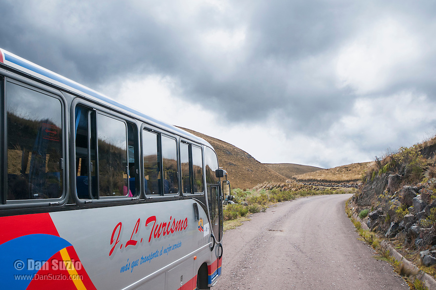 Tour bus on the road to Antisana Ecological Reserve, Ecuador