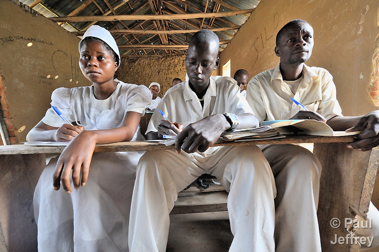 Students in class at a nursing school run by the United Methodist Church in the village of Wembo Nyama, DR Congo.